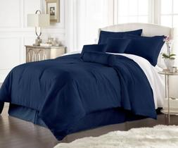 Chezmoi Collection 7-Piece Solid Navy Blue Embossed Dobby St