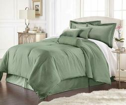 7-Piece Solid Sage Green Embossed Dobby Stripe Comforter Set