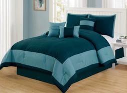 7 Piece Teal Comforter Set Cal King Size Linen Plus NEW
