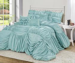 HIG 7 Piece VALENTINUS Blue Color Full Square Ruffled Comfor