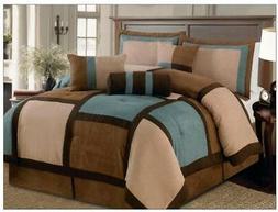 7 Pieces Aqua Brown & Beige Micro Suede Patchwork Comforter