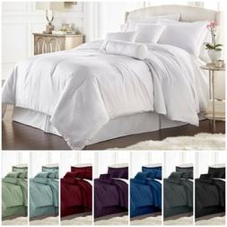Chezmoi Collection 7-pieces Solid Color Hotel Dobby Stripe C
