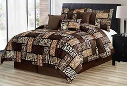 Grand Linen Black/Brown Comforter Set Animal Print Safari Pa