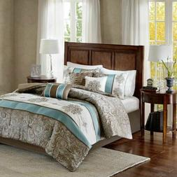 7pc Blue Brown & Ivory Jacquard Paisley Comforter Set AND De
