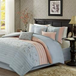 7pc Blush Pink & Grey Embroidered Floral Comforter Set AND D