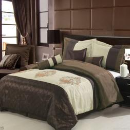 7pc Brown Beige Pacifica Comforter Set with Pillows Bed Skir