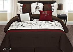 Fancy Linen 7pc Cal. King Embroidery Brown Off White Burgund