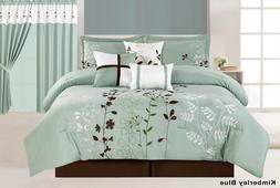 7Pc Floral Embroidered Microfiber Comforter Set Sage Teal Br
