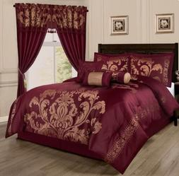 Chezmoi Collection 7pc Jacquard Floral Comforter or Curtain