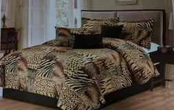 7PC Multi Animal Print Microfur Comforter Set, Twin, Queen,