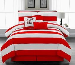 7Pc Nautical Comforter set, Red & White Striped, Twin Full Q