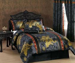 Chezmoi Collection 7pc Palace Dragon Black/Gold/Red Comforte