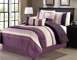 7Pc KING Modern Purple Lavender White Stripe Embroidered Pin