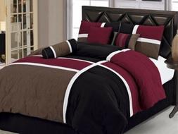 7pcs Medallion Quilted Patchwork Comforter Set Full, Burgund