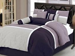 7pcs Medallion Quilted Patchwork Comforter Set Full, Lavende