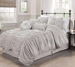 Chezmoi Collection 7pcs Shabby Chic Ruched Ruffle Comforter