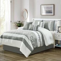 7PCS Striped Pleated Comforter Bedding Set Soft Microfiber B
