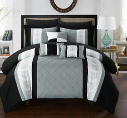Chic Home 8/10 Piece Adam Pintuck Pieced Color Block Embroid
