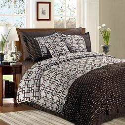 8+2 Piece Luxury Plaid Bedding Comforter Set Plaid Prints Fu