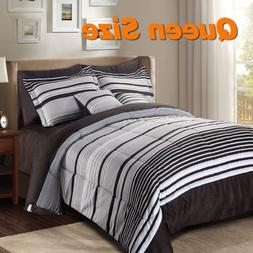 8+2 Piece Queen Size Luxury Striped Polyester Microfiber Hom