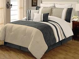 8 PC Grey Beige & White Striped Comforter Set Full  Queen Ki