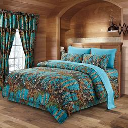 8 pc Queen Set The Woods Sea Breeze Comforter, Sheets, Pillo
