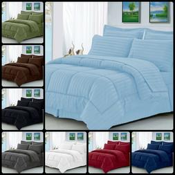 8 Pcs Comforter Set HypoAllergenic King Full Queen Dobby Str