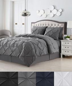 8 Piece Bed In A Bag Pintuck Comforter Sheet Bed Skirt Sham