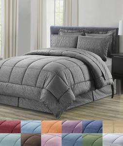 8 Piece Bed In A Bag Vine Embossed Comforter Sheet Bed Skirt