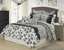 8 Piece Black/Grey/White Printed Leopard and Tiger design Sa