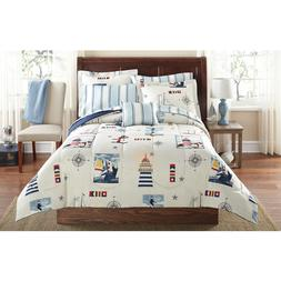 8 Piece Coastal Lighthouse Beach Themed Comforter Full Set S