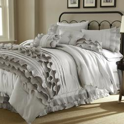 8 Piece Comforter Ruffled Set Bedding Luxury Over Sized Anas
