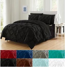8-Piece Comforter Set Luxurious Pintuck Design Bed-in-a-Bag
