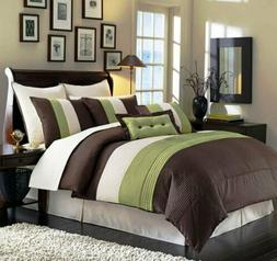 8-Piece Luxury Pintuck Pleated Stripe Green, Brown, and Beig
