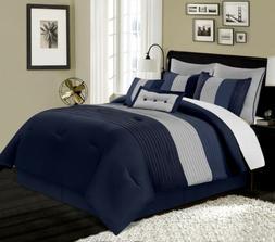8-Piece Luxury Pintuck Pleated Stripe Navy/Blue/Gray Comfort