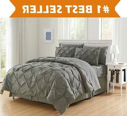 8 Piece Luxury Pintuck Style Bed in a Bag Comforter Bedding