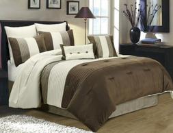8-Piece Luxury Stripe Comforter Set Bed-In-A-Bag Brown