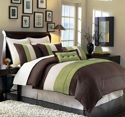 8-Piece Luxury Stripe Comforter Set Bed-In-A-Bag Sage