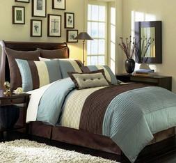 8-Piece Luxury Stripe Comforter Set Bed-In-A-Bag Blue