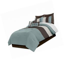 Chezmoi Collection 8-Piece Luxury Striped Comforter Set (Blu