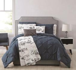 8 Piece Ohlala Teal/Gray Comforter and Quilt Set Queen