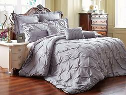 Unique Home 8 Piece Reversible Pinch Pleat Comforter Set Fad