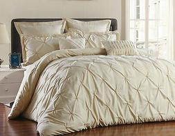 8 Piece Reversible Pinch Pleat Comforter Set Fade Resistant,