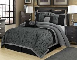 8 Piece Wisteria Floral Pattern Jacquard Patchwork Black and