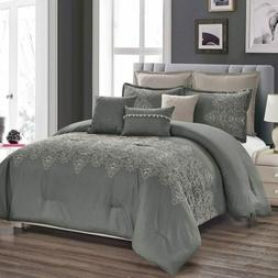 8 Pieces Embroidered Damask Comforter Set Luxury Collection