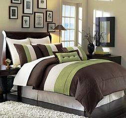 8 Pieces Luxury Stripe Green, Brown, Beige Comforter Bed-in-