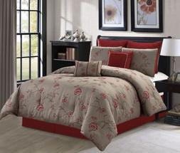 Chezmoi Collection 8pc Anemone Red Taupe Floral Embroidery B
