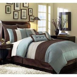 8pc  Pintuck Pleated Stripe Off-White, Blue, and Brown Comfo