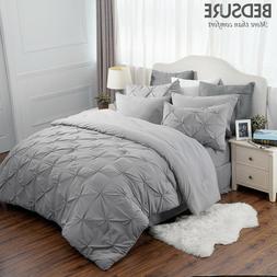 Bedsure 8pcs Comforter Set Full Queen Solid Gray Pinch Pleat