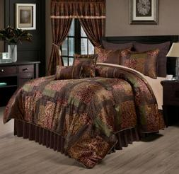 Chezmoi Collection 9-Piece Floral Jacquard Patchwork Comfort